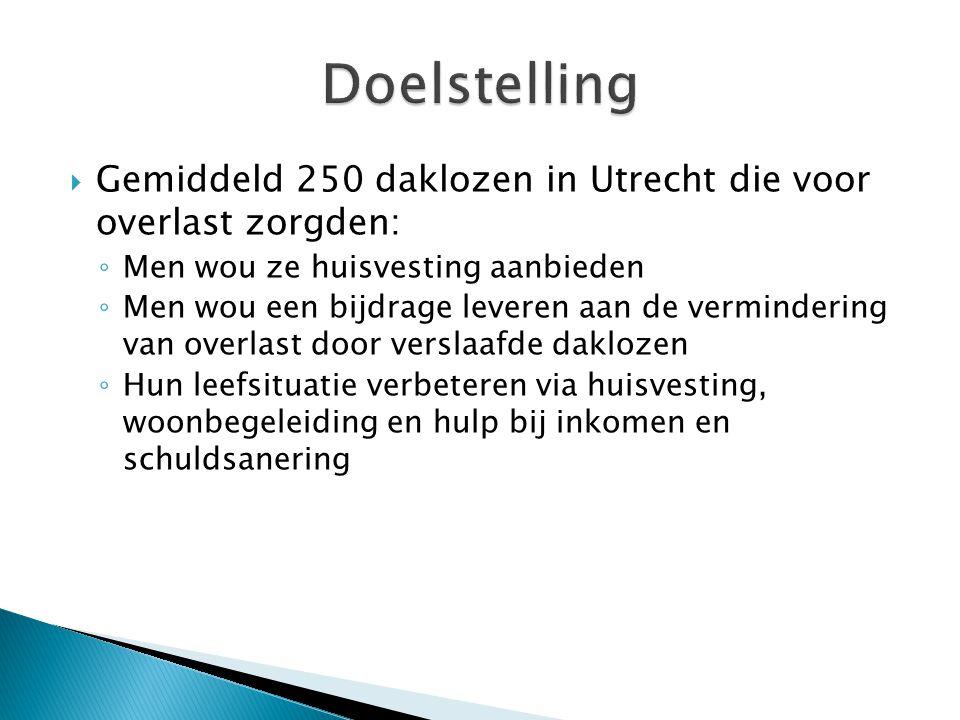  Gemiddeld 250 daklozen in Utrecht die voor overlast zorgden: ◦ Men wou ze huisvesting aanbieden ◦ Men wou een bijdrage leveren aan de vermindering van overlast door verslaafde daklozen ◦ Hun leefsituatie verbeteren via huisvesting, woonbegeleiding en hulp bij inkomen en schuldsanering