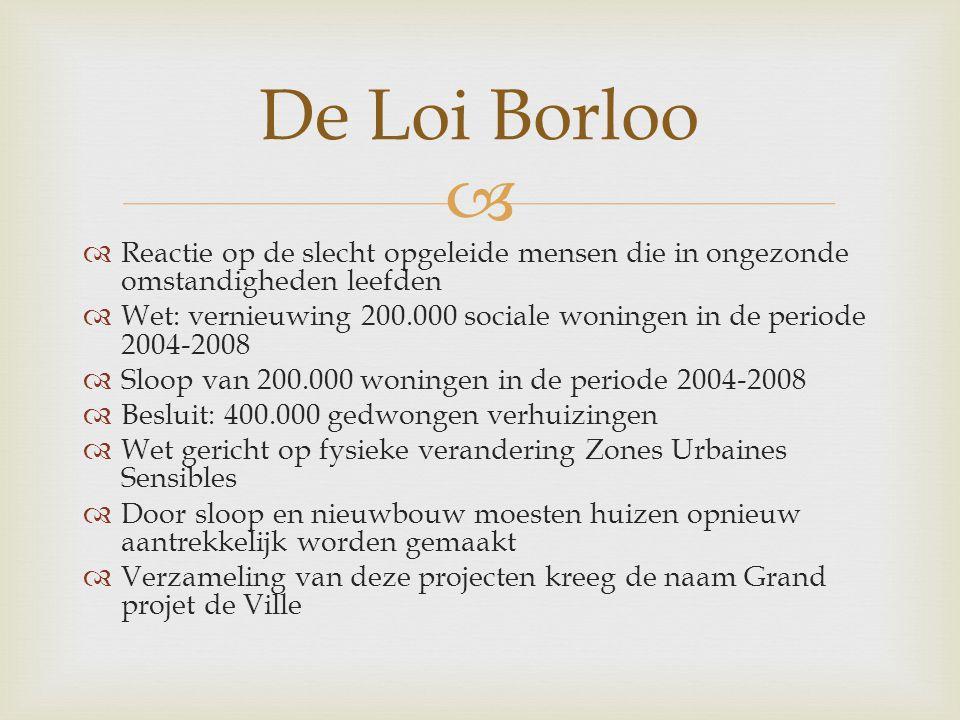   Reactie op de slecht opgeleide mensen die in ongezonde omstandigheden leefden  Wet: vernieuwing 200.000 sociale woningen in de periode 2004-2008  Sloop van 200.000 woningen in de periode 2004-2008  Besluit: 400.000 gedwongen verhuizingen  Wet gericht op fysieke verandering Zones Urbaines Sensibles  Door sloop en nieuwbouw moesten huizen opnieuw aantrekkelijk worden gemaakt  Verzameling van deze projecten kreeg de naam Grand projet de Ville De Loi Borloo