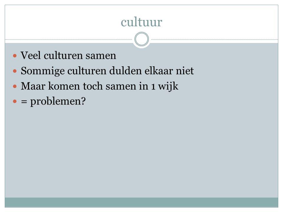 cultuur Veel culturen samen Sommige culturen dulden elkaar niet Maar komen toch samen in 1 wijk = problemen