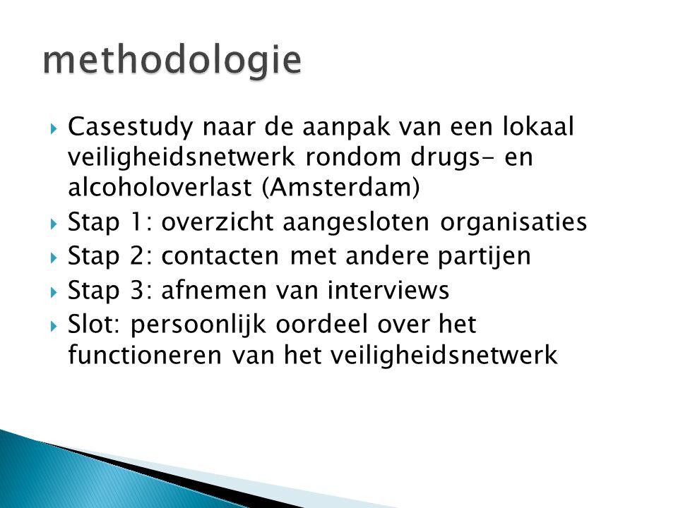  Casestudy naar de aanpak van een lokaal veiligheidsnetwerk rondom drugs- en alcoholoverlast (Amsterdam)  Stap 1: overzicht aangesloten organisaties