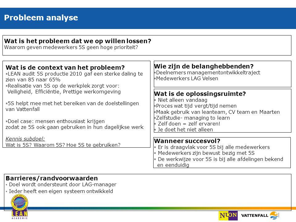 | Probleem analyse Wat is het probleem dat we op willen lossen? Waarom geven medewerkers 5S geen hoge prioriteit? Wat is de context van het probleem?