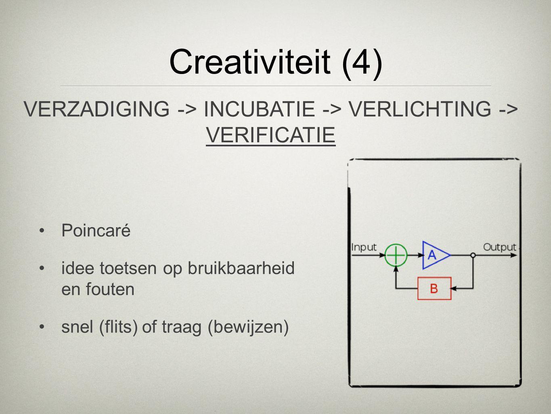 VERZADIGING -> INCUBATIE -> VERLICHTING -> VERIFICATIE Creativiteit (4) Poincaré idee toetsen op bruikbaarheid en fouten snel (flits) of traag (bewijz