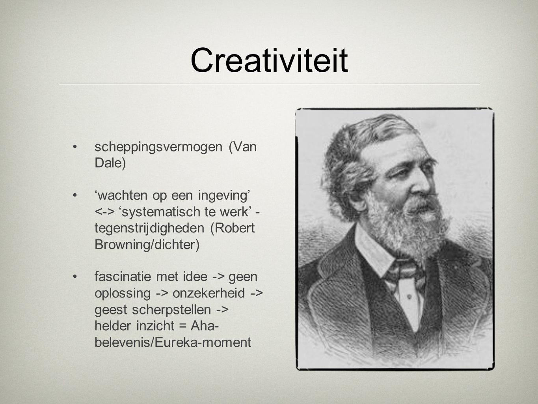 Creativiteit scheppingsvermogen (Van Dale) 'wachten op een ingeving' 'systematisch te werk' - tegenstrijdigheden (Robert Browning/dichter) fascinatie