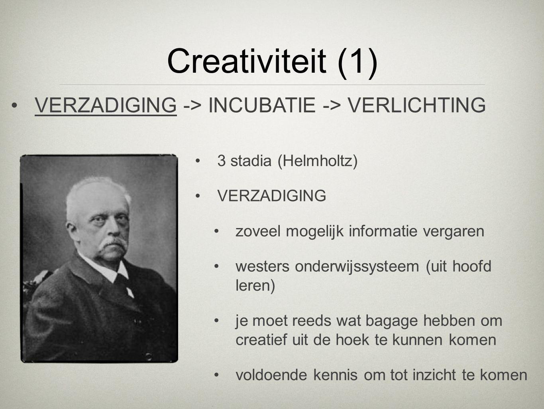 Creativiteit (1) 3 stadia (Helmholtz) VERZADIGING zoveel mogelijk informatie vergaren westers onderwijssysteem (uit hoofd leren) je moet reeds wat bag