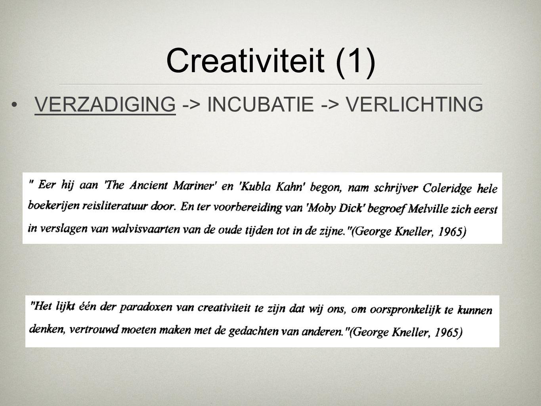Creativiteit (1) VERZADIGING -> INCUBATIE -> VERLICHTING