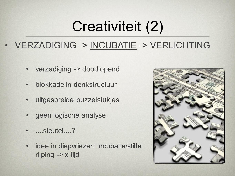 Creativiteit (2) verzadiging -> doodlopend blokkade in denkstructuur uitgespreide puzzelstukjes geen logische analyse....sleutel....? idee in diepvrie