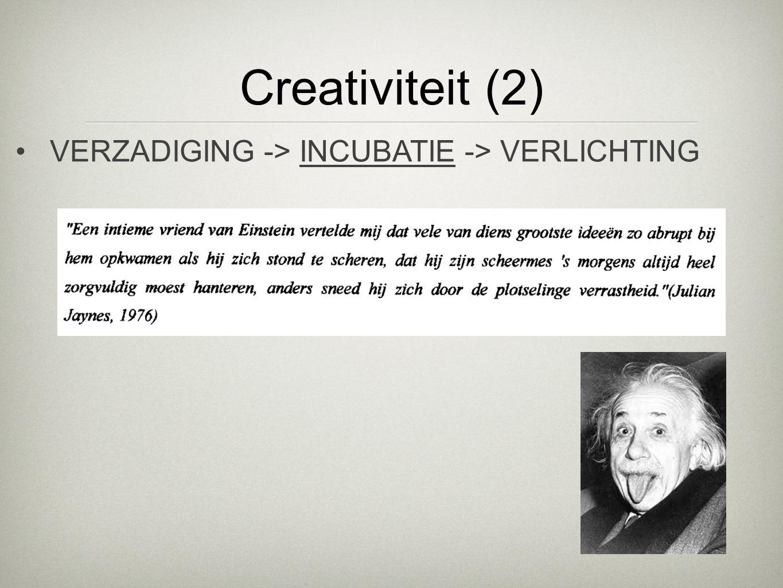 Creativiteit (2) VERZADIGING -> INCUBATIE -> VERLICHTING