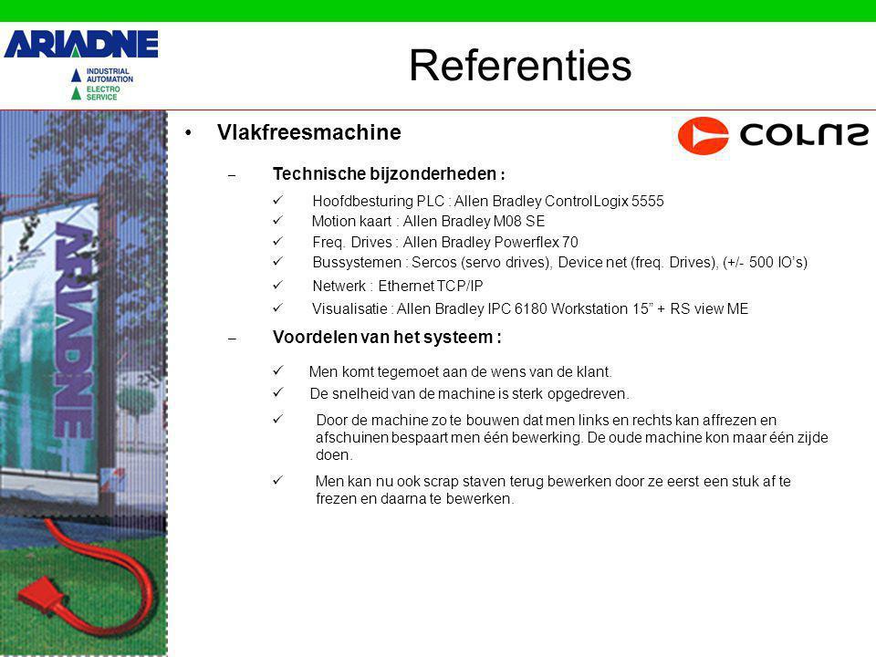 Referenties Vlakfreesmachine – Technische bijzonderheden : Hoofdbesturing PLC : Allen Bradley ControlLogix 5555 Motion kaart : Allen Bradley M08 SE Freq.