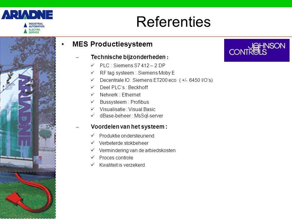 MES Productiesysteem Referenties – Voordelen van het systeem : Produktie ondersteunend Verbeterde stokbeheer Vermindering van de arbiedskosten Proces controle Kwaliteit is verzekerd – Technische bijzonderheden : PLC : Siemens S7 412 – 2 DP RF tag systeem : Siemens Moby E Decentrale IO: Siemens ET200 eco ( +/- 6450 I/O's) Deel PLC's : Beckhoff Netwerk : Ethernet Bussysteem : Profibus Visualisatie : Visual Basic dBase-beheer : MsSql-server