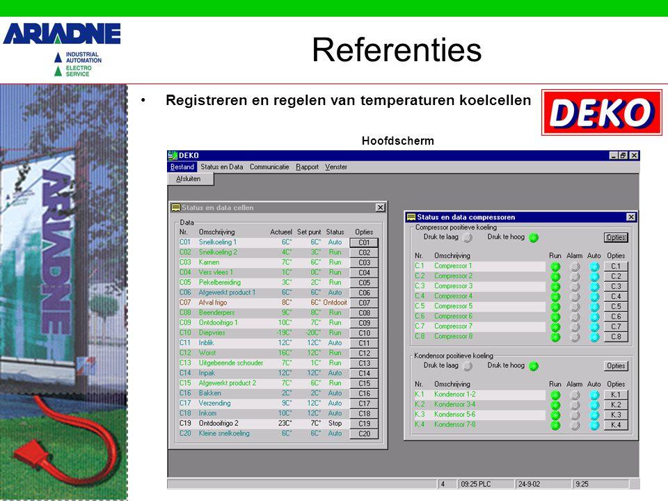 Registreren en regelen van temperaturen koelcellen Referenties Hoofdscherm