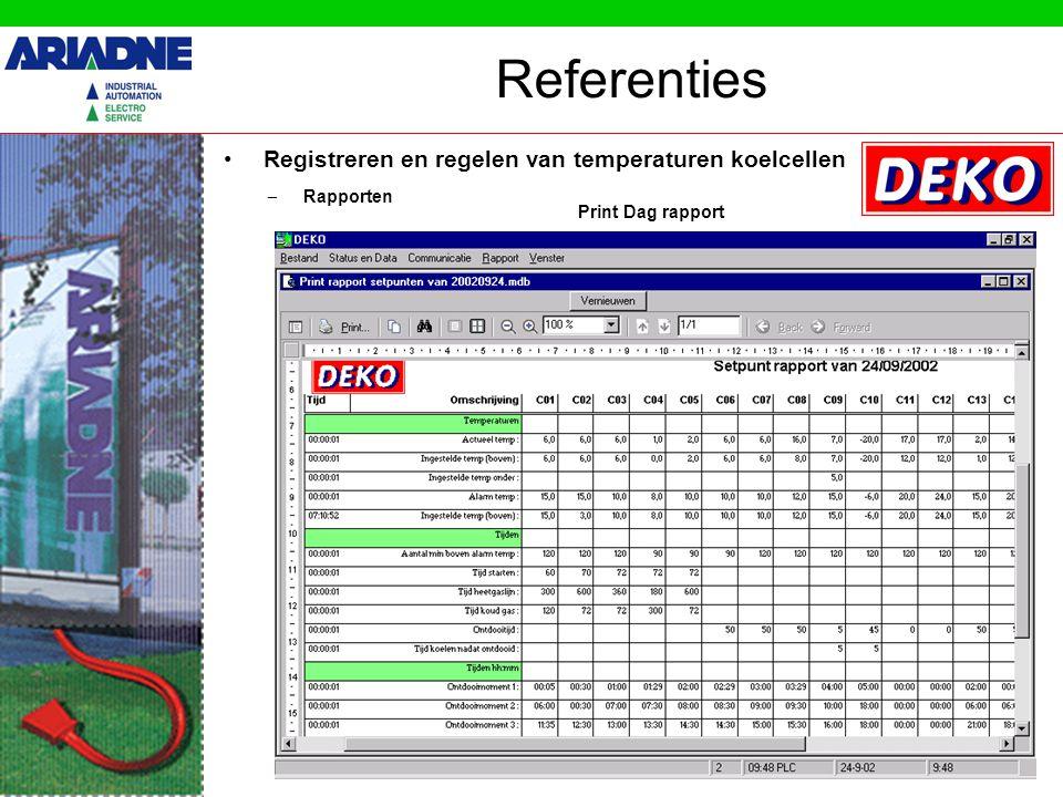 Registreren en regelen van temperaturen koelcellen Referenties – Rapporten Print Dag rapport