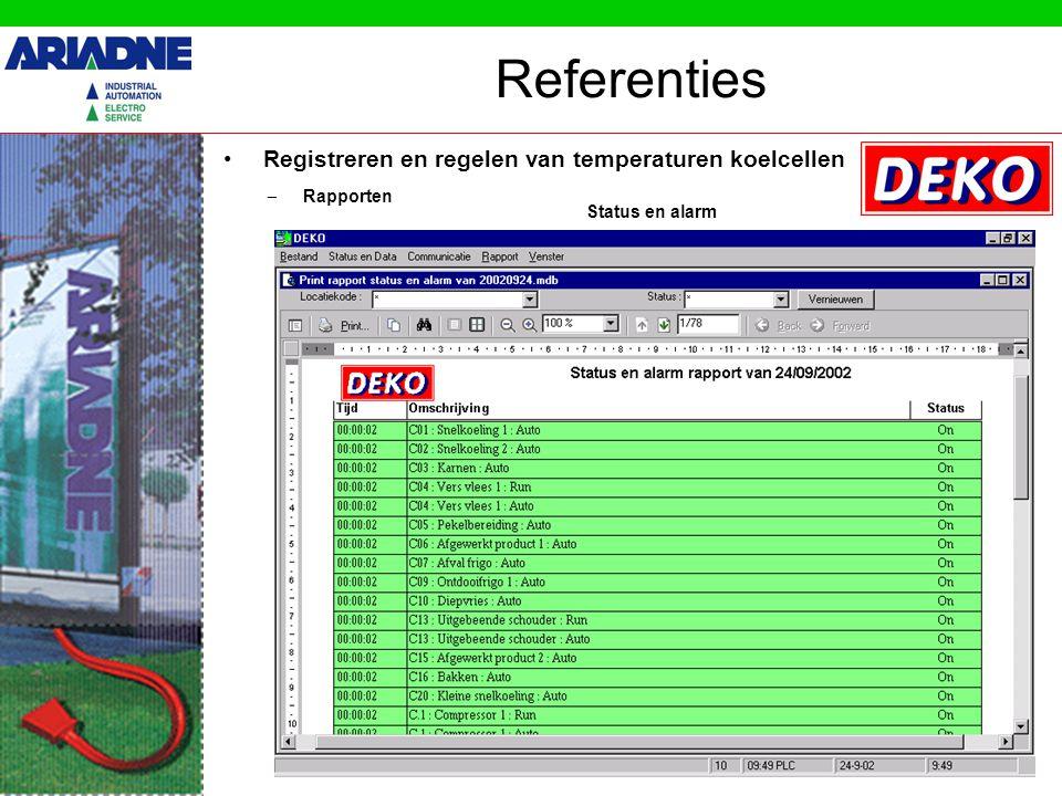 Registreren en regelen van temperaturen koelcellen Referenties – Rapporten Status en alarm