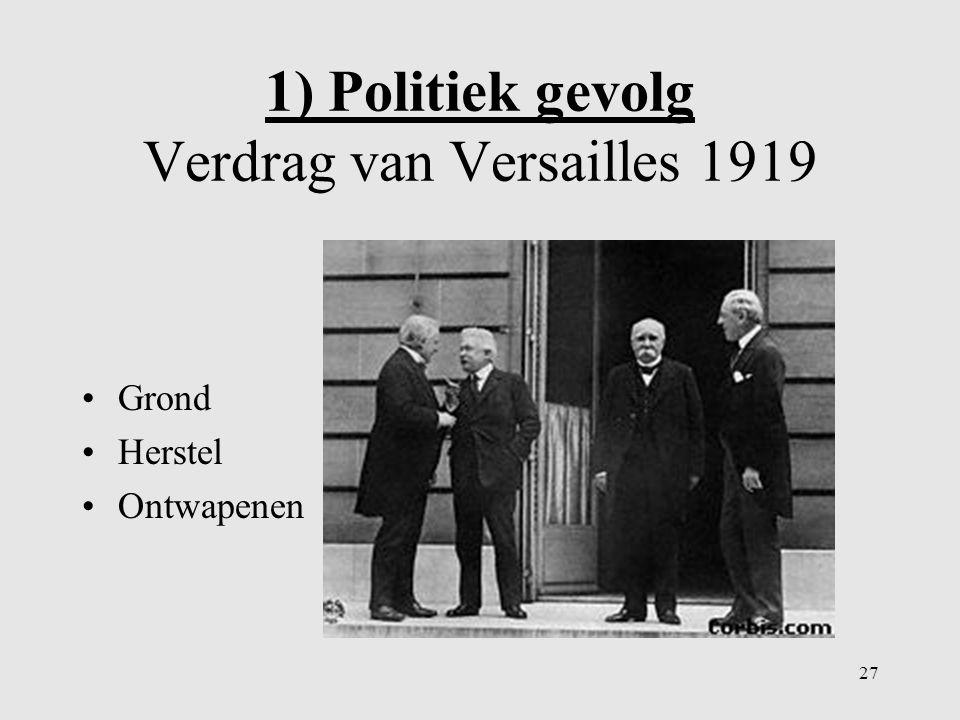 1) Politiek gevolg Verdrag van Versailles 1919 3 bepalingen: p76 ill.7a 26