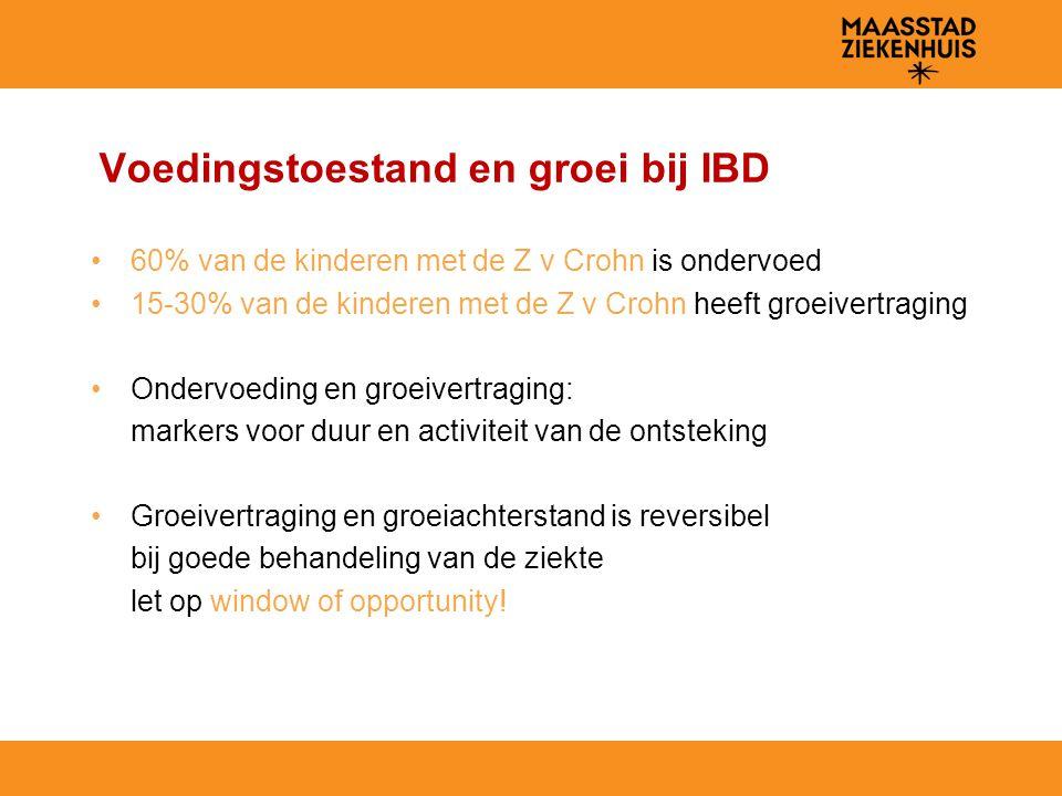 Voedingstoestand en groei bij IBD 60% van de kinderen met de Z v Crohn is ondervoed 15-30% van de kinderen met de Z v Crohn heeft groeivertraging Onde