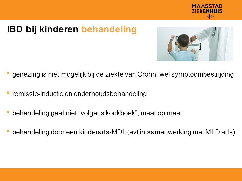 IBD bij kinderen behandeling genezing is niet mogelijk bij de ziekte van Crohn, wel symptoombestrijding remissie-inductie en onderhoudsbehandeling beh