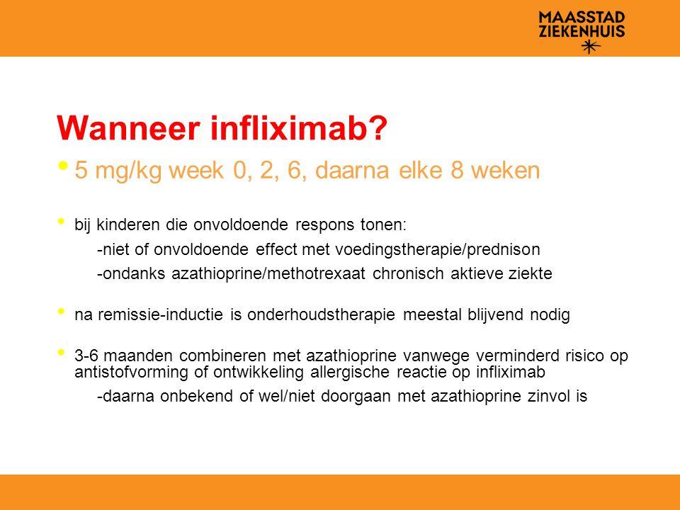Wanneer infliximab? 5 mg/kg week 0, 2, 6, daarna elke 8 weken bij kinderen die onvoldoende respons tonen: -niet of onvoldoende effect met voedingsther