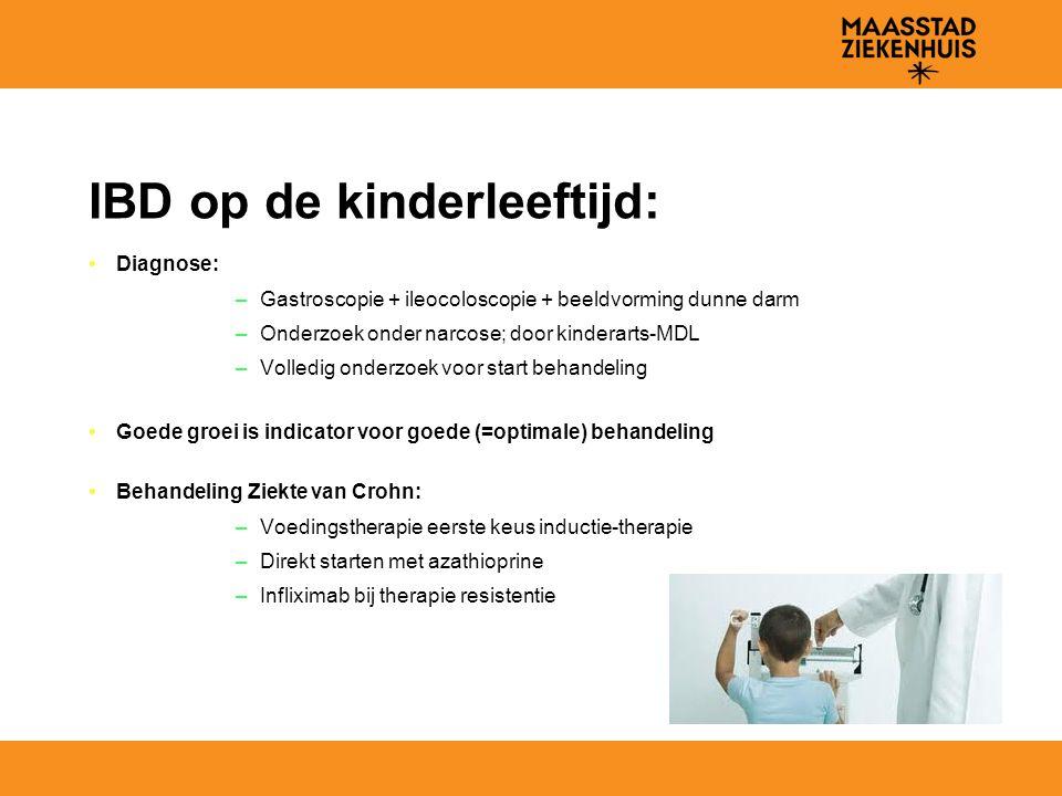 IBD op de kinderleeftijd: Diagnose: –Gastroscopie + ileocoloscopie + beeldvorming dunne darm –Onderzoek onder narcose; door kinderarts-MDL –Volledig o