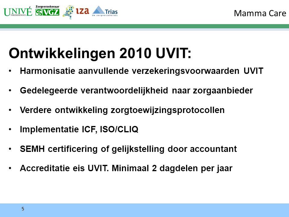 5 Ontwikkelingen 2010 UVIT: Harmonisatie aanvullende verzekeringsvoorwaarden UVIT Gedelegeerde verantwoordelijkheid naar zorgaanbieder Verdere ontwikkeling zorgtoewijzingsprotocollen Implementatie ICF, ISO/CLIQ SEMH certificering of gelijkstelling door accountant Accreditatie eis UVIT.