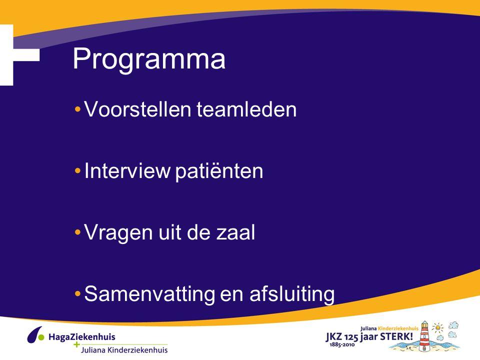 Programma Voorstellen teamleden Interview patiënten Vragen uit de zaal Samenvatting en afsluiting 2