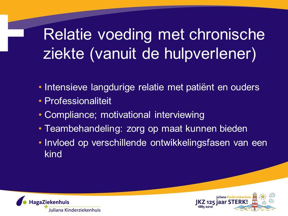 Relatie voeding met chronische ziekte (vanuit de hulpverlener) Intensieve langdurige relatie met patiënt en ouders Professionaliteit Compliance; motiv