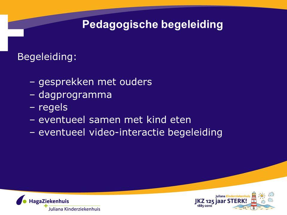 Pedagogische begeleiding Begeleiding: – gesprekken met ouders – dagprogramma – regels – eventueel samen met kind eten – eventueel video-interactie begeleiding