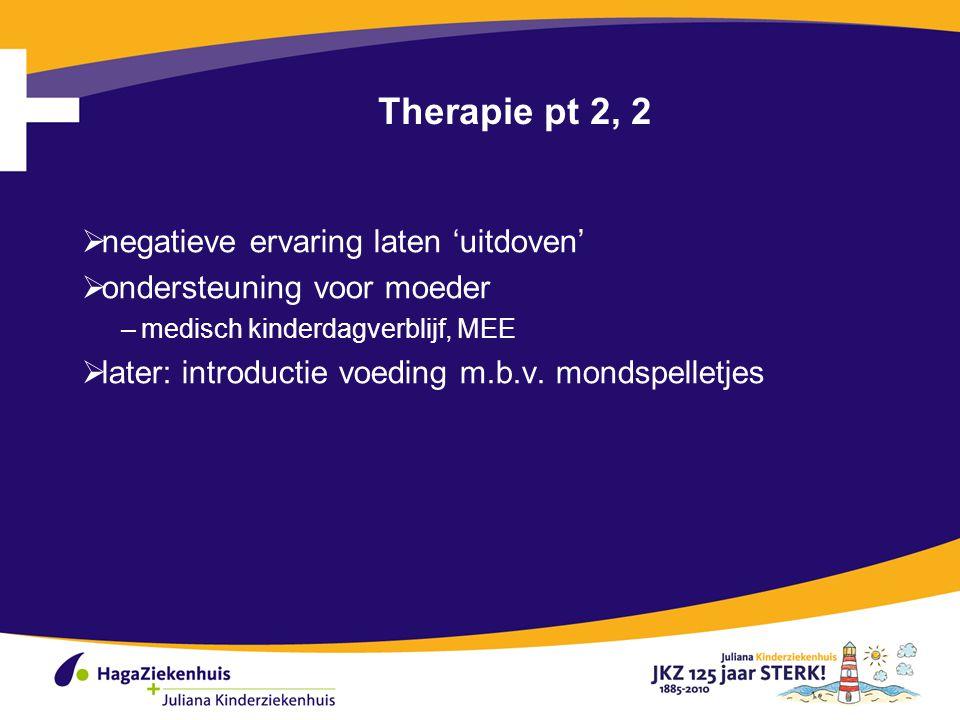 Therapie pt 2, 2  negatieve ervaring laten 'uitdoven'  ondersteuning voor moeder –medisch kinderdagverblijf, MEE  later: introductie voeding m.b.v.