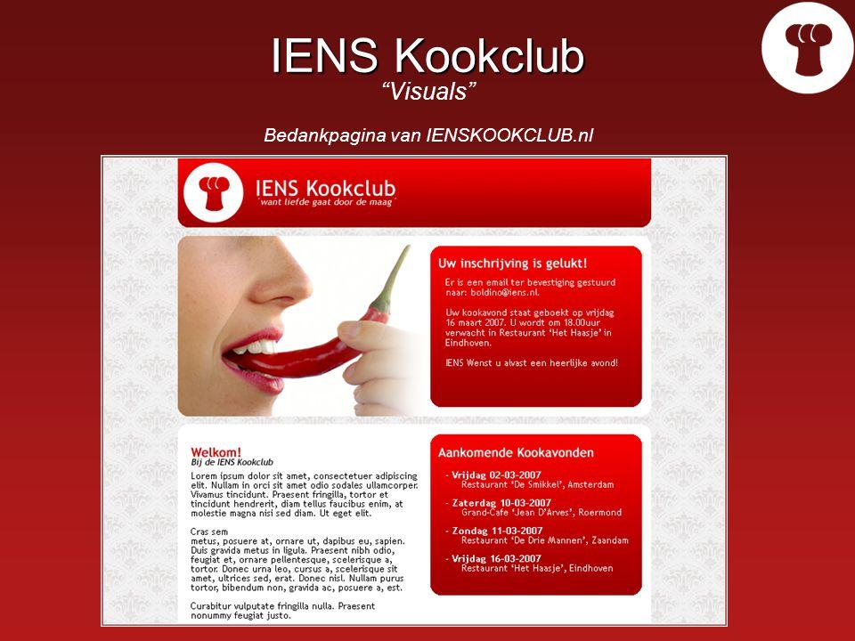 IENS Kookclub IENS Kookclub Visuals Bedankpagina van IENSKOOKCLUB.nl