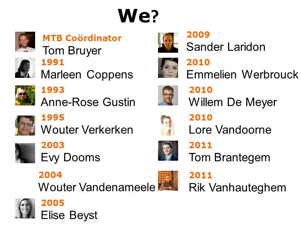 We ? 2005 Elise Beyst 2003 Evy Dooms 2009 Sander Laridon 1995 Wouter Verkerken 1991 Marleen Coppens 2010 Emmelien Werbrouck 2010 Willem De Meyer 2010