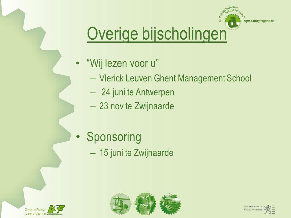 """Dynamo Project is een project van Overige bijscholingen """"Wij lezen voor u"""" – Vlerick Leuven Ghent Management School – 24 juni te Antwerpen – 23 nov te"""