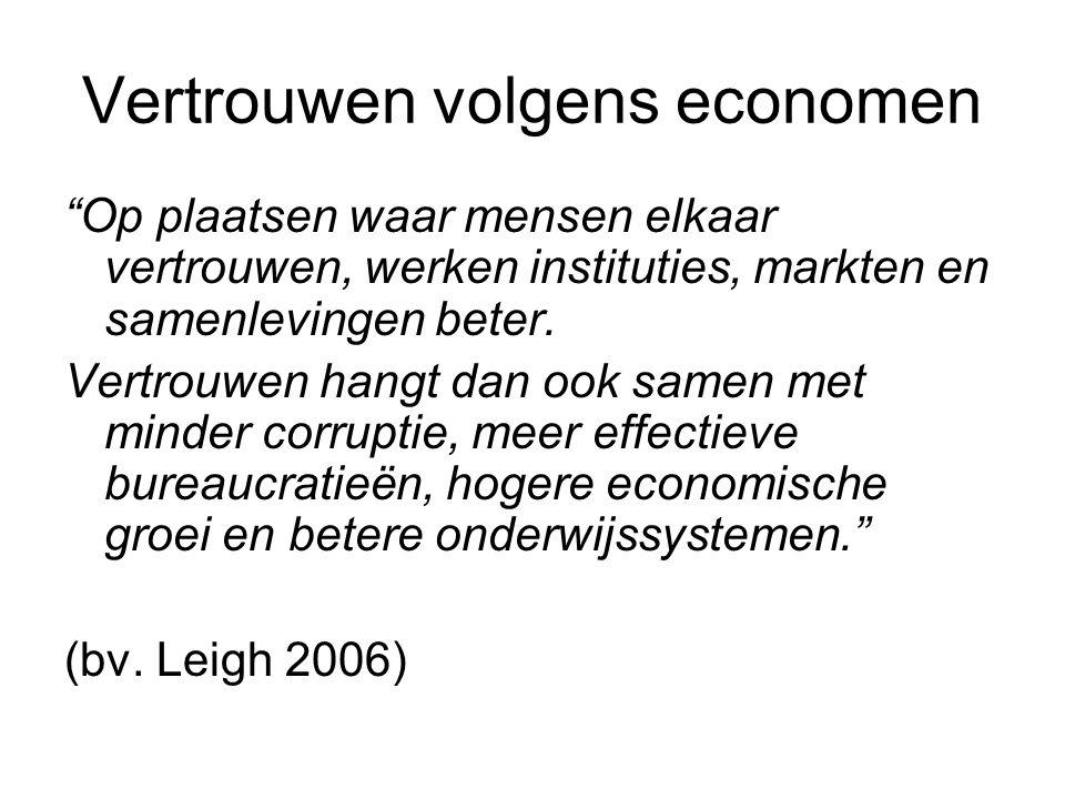 """Vertrouwen volgens economen """"Op plaatsen waar mensen elkaar vertrouwen, werken instituties, markten en samenlevingen beter. Vertrouwen hangt dan ook s"""