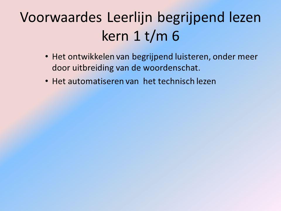 Voorwaardes Leerlijn begrijpend lezen kern 1 t/m 6 Het ontwikkelen van begrijpend luisteren, onder meer door uitbreiding van de woordenschat. Het auto