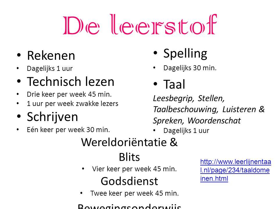 De leerstof Rekenen Dagelijks 1 uur Technisch lezen Drie keer per week 45 min.