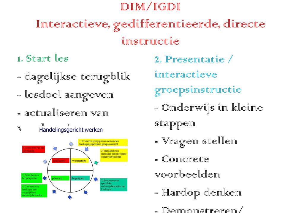 DIM/IGDI Interactieve, gedifferentieerde, directe instructie 1.