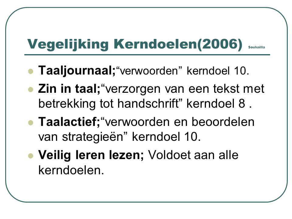Vegelijking Kerndoelen(2006) Souhailla Taaljournaal; verwoorden kerndoel 10.