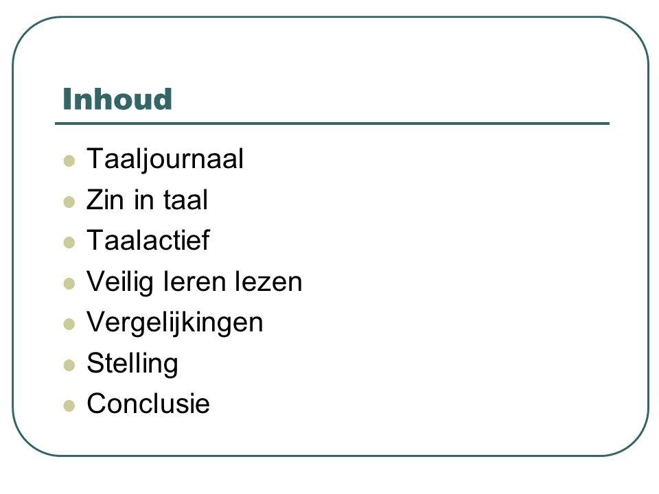 Inhoud Taaljournaal Zin in taal Taalactief Veilig leren lezen Vergelijkingen Stelling Conclusie
