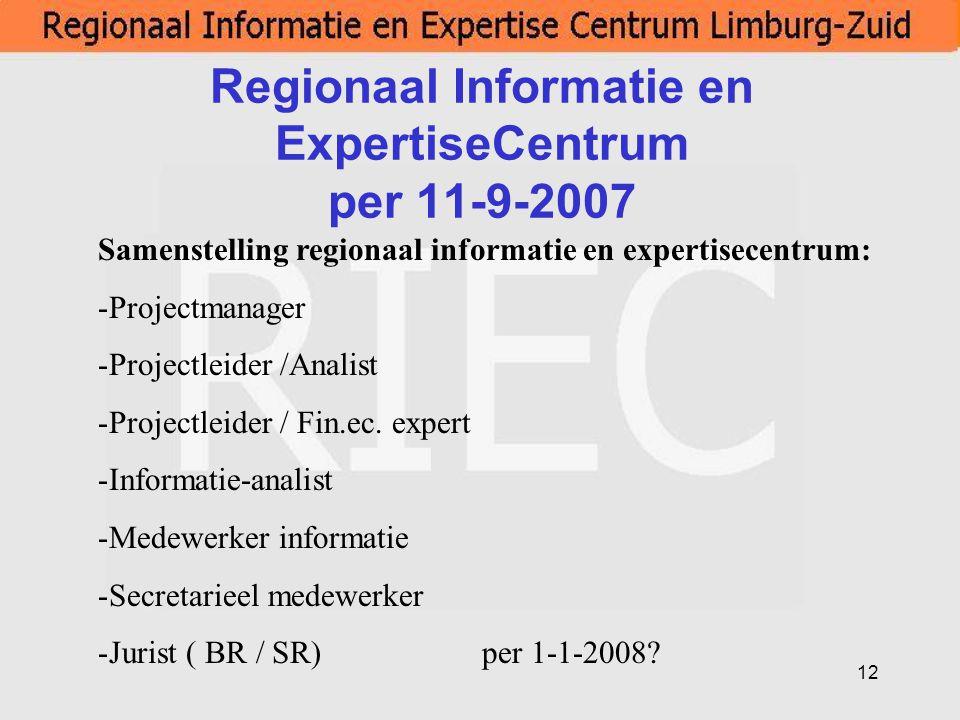 12 Regionaal Informatie en ExpertiseCentrum per 11-9-2007 Samenstelling regionaal informatie en expertisecentrum: -Projectmanager -Projectleider /Anal