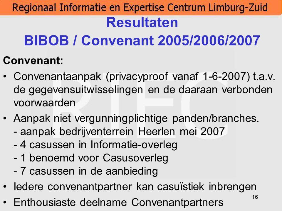 16 Resultaten BIBOB / Convenant 2005/2006/2007 Convenant: Convenantaanpak (privacyproof vanaf 1-6-2007) t.a.v. de gegevensuitwisselingen en de daaraan