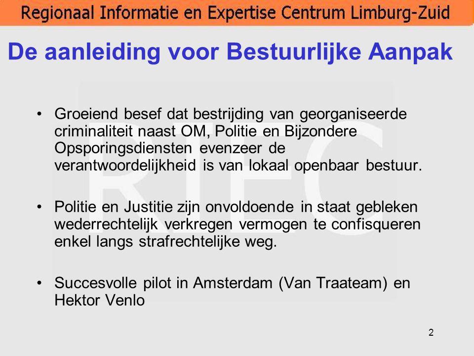 13 Bestuurlijke Aanpak Limburg-Zuid per 1-1-2008