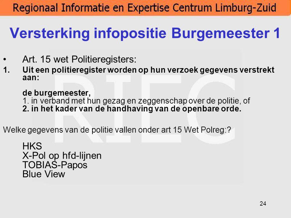 24 Versterking infopositie Burgemeester 1 Art. 15 wet Politieregisters: 1.Uit een politieregister worden op hun verzoek gegevens verstrekt aan: de bur