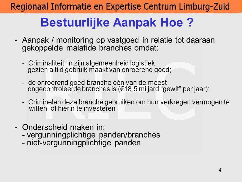 4 Bestuurlijke Aanpak Hoe ? -Aanpak / monitoring op vastgoed in relatie tot daaraan gekoppelde malafide branches omdat: - Criminaliteit in zijn algeme