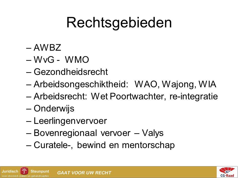 Rechtsgebieden –AWBZ –WvG - WMO –Gezondheidsrecht –Arbeidsongeschiktheid: WAO, Wajong, WIA –Arbeidsrecht: Wet Poortwachter, re-integratie –Onderwijs –
