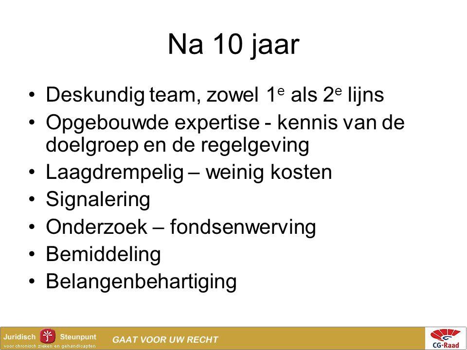 Na 10 jaar Deskundig team, zowel 1 e als 2 e lijns Opgebouwde expertise - kennis van de doelgroep en de regelgeving Laagdrempelig – weinig kosten Sign