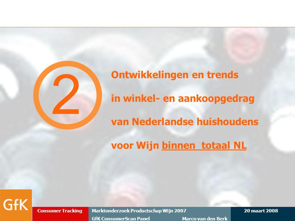 20 maart 2008Marktonderzoek Productschap Wijn 2007 GfK ConsumerScan Panel Marco van den Berk Consumer Tracking Ontwikkelingen en trends in winkel- en