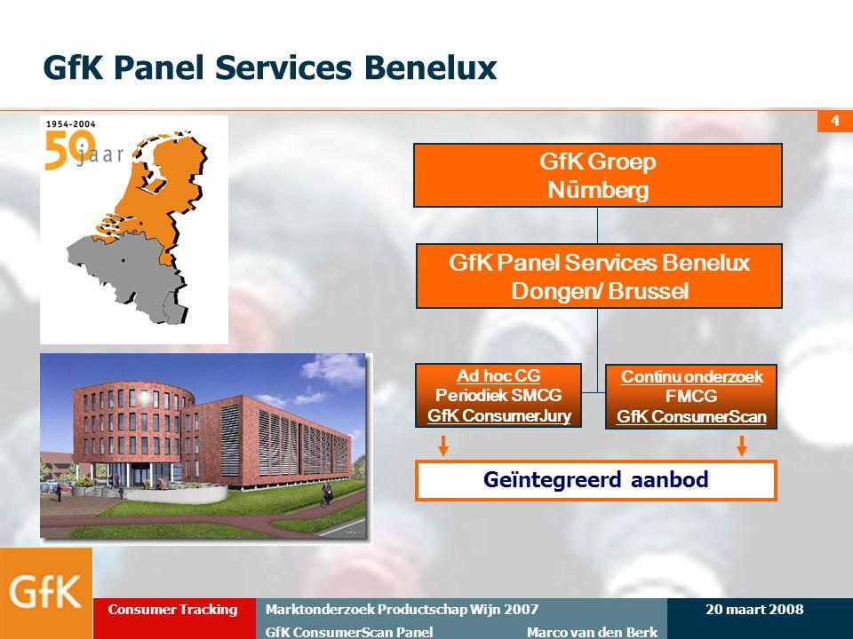20 maart 2008Marktonderzoek Productschap Wijn 2007 GfK ConsumerScan Panel Marco van den Berk Consumer Tracking 4 GfK Panel Services Benelux GfK Groep