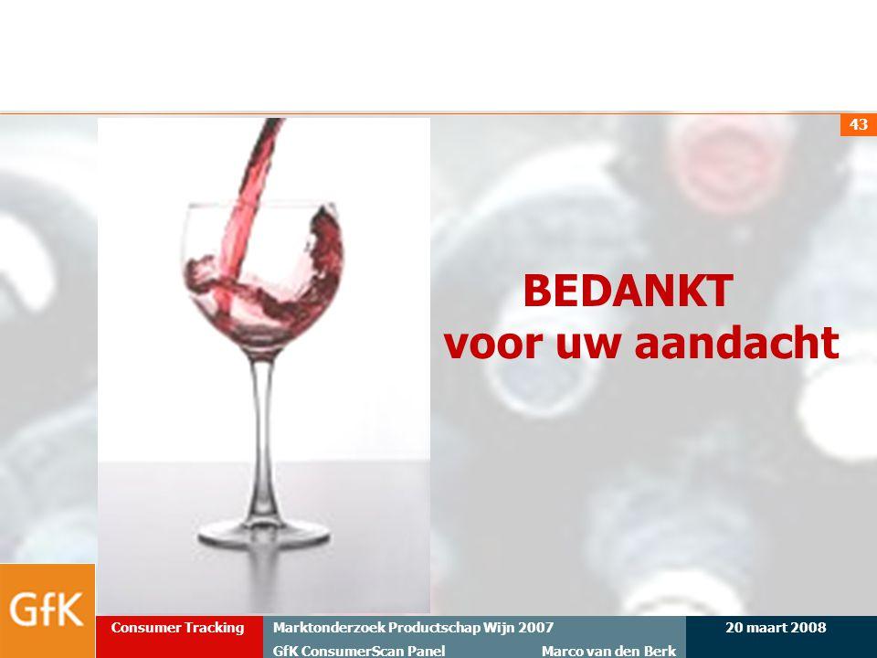 20 maart 2008Marktonderzoek Productschap Wijn 2007 GfK ConsumerScan Panel Marco van den Berk Consumer Tracking 43 BEDANKT voor uw aandacht