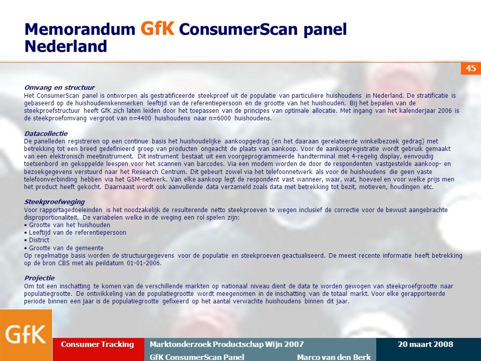20 maart 2008Marktonderzoek Productschap Wijn 2007 GfK ConsumerScan Panel Marco van den Berk Consumer Tracking 45 Memorandum GfK ConsumerScan panel Ne