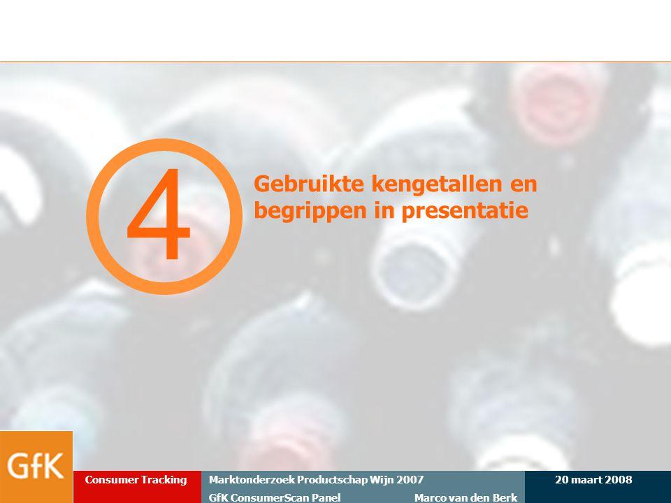 20 maart 2008Marktonderzoek Productschap Wijn 2007 GfK ConsumerScan Panel Marco van den Berk Consumer Tracking Gebruikte kengetallen en begrippen in p