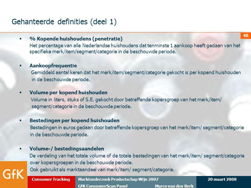 20 maart 2008Marktonderzoek Productschap Wijn 2007 GfK ConsumerScan Panel Marco van den Berk Consumer Tracking 48 Gehanteerde definities (deel 1)  %