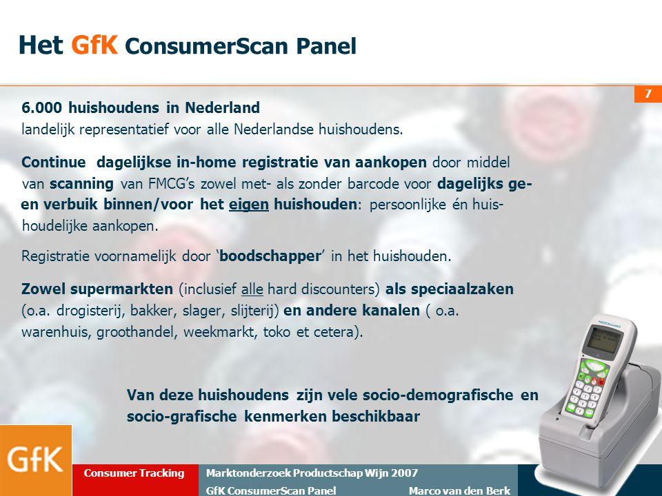 20 maart 2008Marktonderzoek Productschap Wijn 2007 GfK ConsumerScan Panel Marco van den Berk Consumer Tracking 7 6.000 huishoudens in Nederland landel