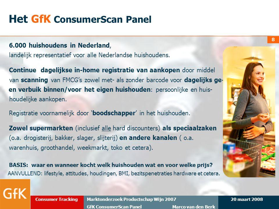 20 maart 2008Marktonderzoek Productschap Wijn 2007 GfK ConsumerScan Panel Marco van den Berk Consumer Tracking 8 6.000 huishoudens in Nederland, lande